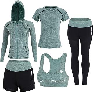 BOTRE Femme 5 Pièces Yoga Ensembles Sportswear Costumes de Sport Course Gym Athletisme Fitness Jogging Survêtement