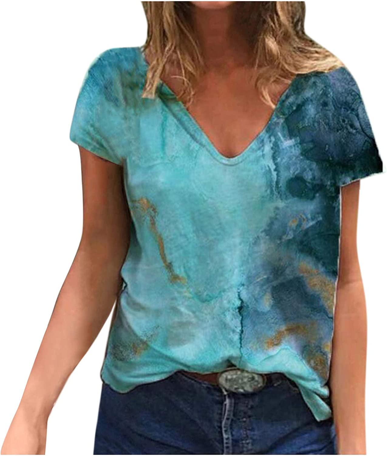 KAMEMIR Graphic Tees for Women, Summer T Shirt Landscape Graphic Tee Short Sleeve V Neck Tunic Casual Blouse Loose Tops