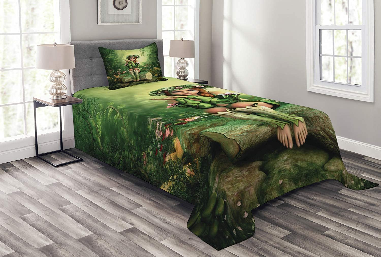 Ambesonne Fairy Bedspread Set Twin Size, Computer Art Elf Girl with Wreath on Her Head Sitting on a Tree Stump Fantastic, 2 Piece Decorative Quilted Coverlet with 1 Pillow Sham, Green Beige Pink