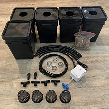 Deep Water Culture (DWC) Hydroponic Bubbler Bucket Grow Kit System, 5 Gallon, 4 Site with Connected Reservoir