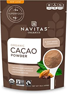 Navitas Organics Cacao Powder, 16 oz. Bags (Pack of 2) — Organic, Non-GMO, Fair Trade, Gluten-Free (19-002)