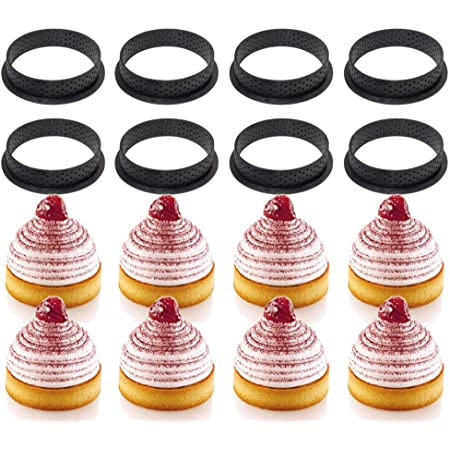8PCS Cake Mold Perforated Cutter Round-Shape Mousse Circle Ring Tart Decor New