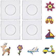 Fuse Beads Boards FOGAWA 4pcs 5mm Perler Bead Pegboards Square Clear Plastic Pegboard for Kids Crafts Hama Beads