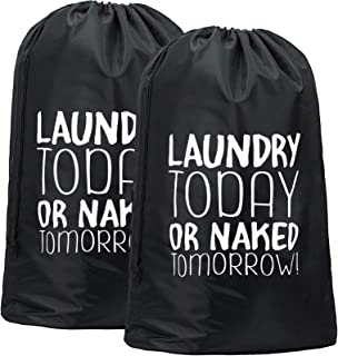 CAM2 2 Pack Travel Laundry Bag,28×40 inches-Machine Washable Large Dirty Clothes Bag,Drawstring Closure,Tear Resistant Dir...