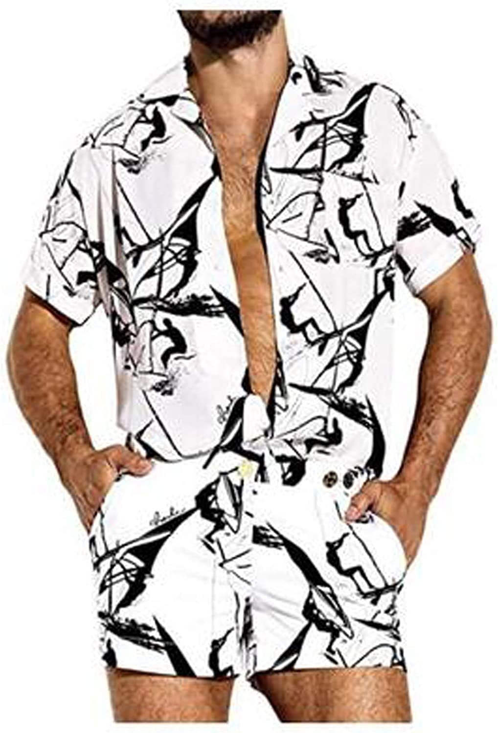 FUNEY Hawaiian Shirts for Mens Casual One Piece Rompers Short Sleeve Tops and Shorts Summer Printed Jumpsuit Overalls