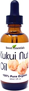100% Organic Kukui Nut Oil   Imported From Hawaii   Various Sizes   100% Pure   Cold-Pressed   Natural Moisturizer for Skin, Hair and Face   By Sweet Essentials (2 fl oz Glass Bottle With Dropper)