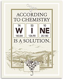 According To Chemistry Wine Is A Solution - 11x14 Unframed Art Print - Makes a Great Gift Under $15 for Geeky Wine Lovers