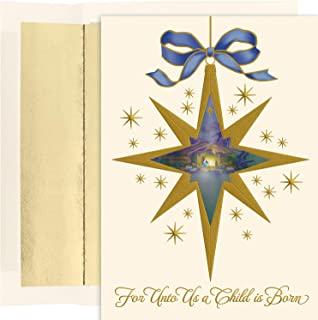 Masterpiece Studios Holiday Collection 16 Cards / 16 Foil Lined Envelopes, Nativity Star