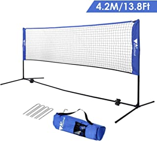 "amzdeal Badminton Net 14FT Portable Net for Kids Volleyball, Tennis, Pickleball, Adjustable Height 34""-61"", Easy Setup Badminton Set with Carry Bag, for Outdoor/Indoor Court, Backyard, Beach"