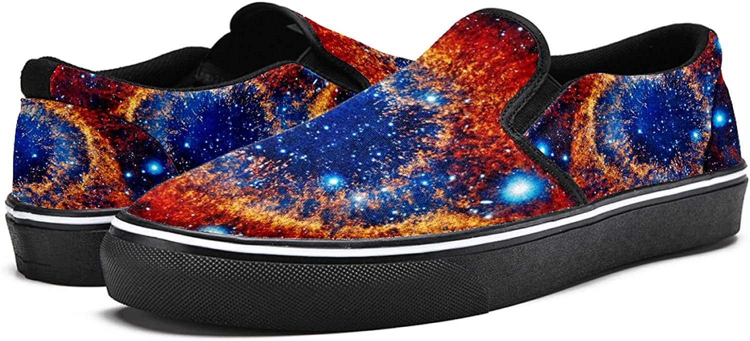 Men's Classic Slip-on Canvas Shoe Fashion Sneaker Casual Walking Shoes Loafers 12 Space Nebula Stars Planets