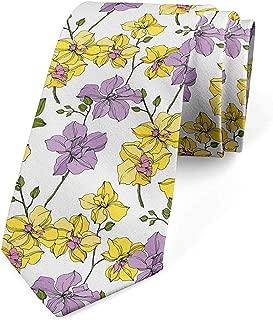 Corbata para hombre, flores silvestres con brotes verdes, lila ...