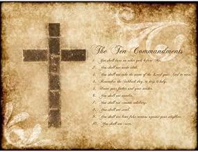 Wee Blue Coo Ten Commandments 10 Cross Christian Religious Quote Typography Unframed Wall Art Print Poster Home Decor Premium