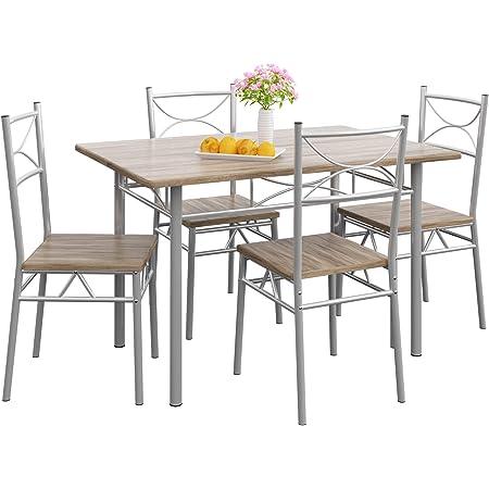 CASARIA Ensemble 5 pièces Paul chêne 1 Table 4 chaises MDF métal laqué Cuisine Ensemble Table et chaises pour Salle à Manger