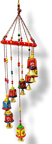 JH Gallery Handcrafted Rajasthani Colored Bells Door/Wall Hanging Decorative Showpiece/Wall Hanging/Home Décor/Home F...