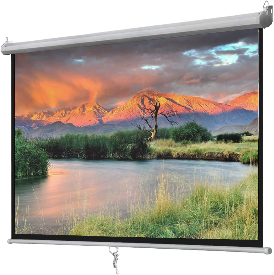 Oteymart 100 Inches Manual Projector Screen Pull Down-Portable Screen Video Projection 16:9 HD Matte White Home Theater with Auto Lock Anti-Crease for Home Theater Outdoor,Wall/Ceiling Mounting