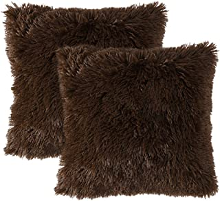 MIULEE Pack of 2 Luxury Faux Fur Throw Pillow Cover Deluxe Decorative Plush Pillow Case Cushion Cover Shell for Sofa Bedroom Car 18 x 18 Inch Chocolate