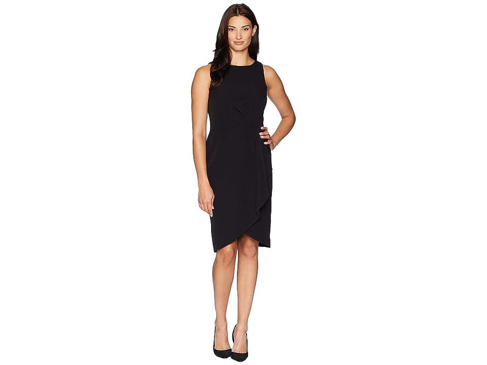 Tahari by ASL Side Draped Sleeveless Crepe Dress (Black) Women