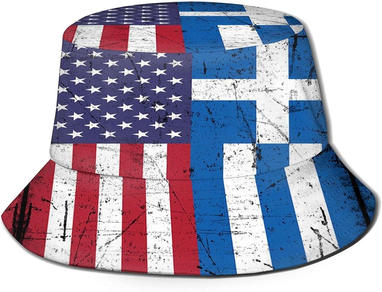 American Greece Greek Flag Unisex Bucket Hat Packable Summer Travel Beach Sun Hat Outdoor Fisherman Caps Black