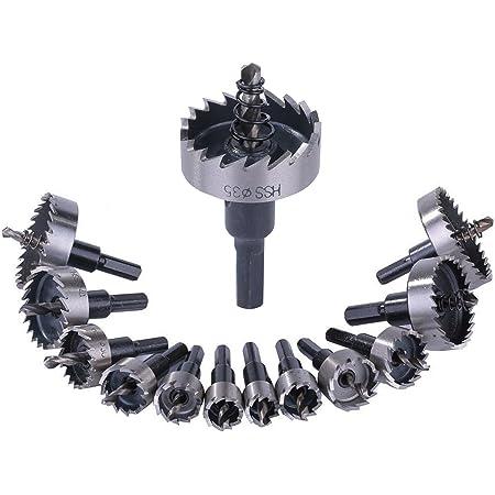 ホールソーセット 13本セット 13PCS 16-53mm HSSドリルビット 穿孔 掘削 超硬 高速度鋼 金属合金 対応 穴あけ 木工 鉄 アルミニウム管 電動ドリル用