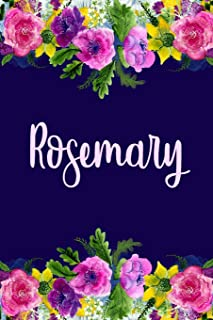 Rosemary: Personalized Name Pink Floral Design Matte Soft Cover Notebook Journal to Write In. 120 Blank Lined Pages
