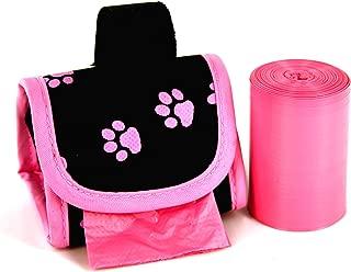 Doggie Walk Bags 2-Roll Designer Bags, Pink Paw/Pink/Citrus