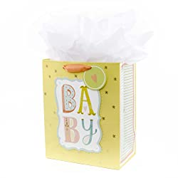 """Hallmark 13"""" Large Gift Bag with Tissue Paper (B-A-B-Y, Yellow) for Baby Showers, New Parents and Mo"""