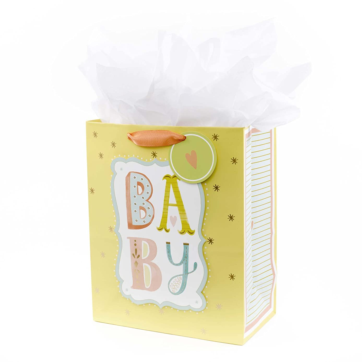 Hallmark Large Gift Bag with Tissue Paper for Baby Showers, New Parents and More (B-A-B-Y)