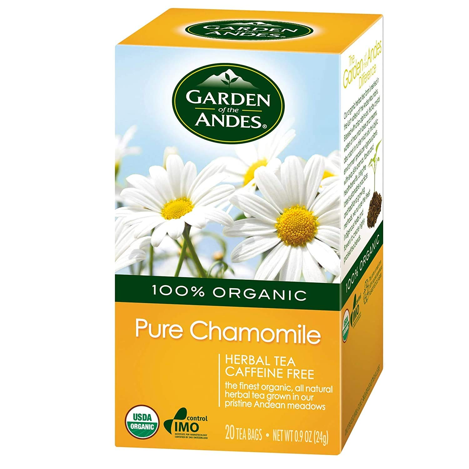 Garden of the Andes Herbal Organic Decaf Chamomile Hot Tea Bags, 0.9 oz, 20 Tea Bag Count (Pack of 6 Boxes)