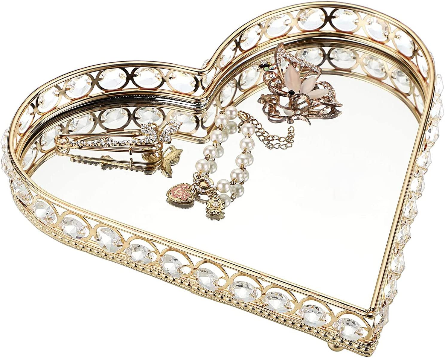 Mirrored Vanity Tray Crystal specialty shop New Free Shipping Jewelry Organizer Heart Shap