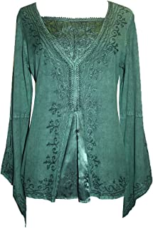 01 B Womens Bohemian Medieval Bell Sleeve Gypsy Blouse Top