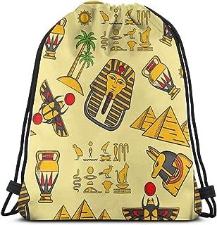 ホルスのピラミッド巾着袋バックパック旅行ジムサック巾着バックパックサックパック16.9x14インチ
