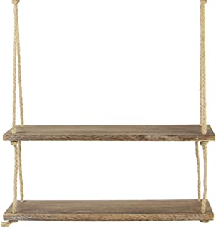 Estante colgante de madera | Estantería de cuerda montada