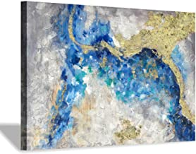 Teal Abstract Painting Wall Art: Hand Painted with Heavy Textured & Gold Foils Embellishment Picture Artwork for Bedroom O...