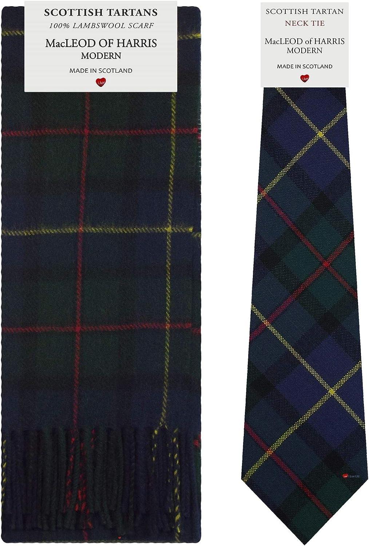 MacLeod Of Harris Modern Tartan Plaid 100% Lambswool Scarf & Tie Gift Set