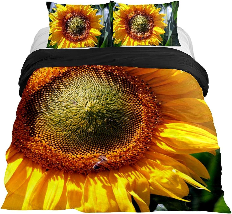 Dragon Sword 3PCS Bed 2021 new Sheet Set Summer B Flower store Sunflower Yellow