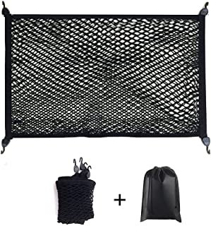 Premium Quality Adjustable Elastic Cargo Net Universal Stretchable Truck Net with Hooks,Storage bag for Car, SUV, Truck, Pickup Trucks Black 32x24in