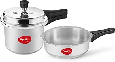 Pigeon by Stovekraft Mini Combi Aluminium Cookware Set, 2-Pieces (2+3 litres), Silver