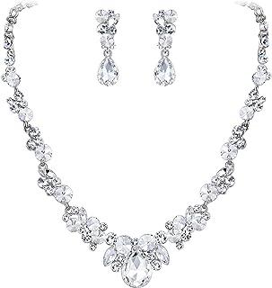 EVER FAITH Juegos de Joyas para Mujer Cristal Rhinestone Boda Floral Lágrima Collares Pendientes Cierre de Clip Conjunto P...