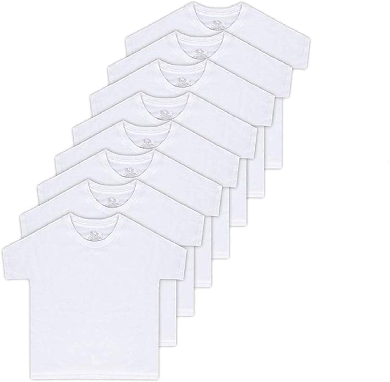 Fruit of the Loom Boys' 8-Pack White 100% Cotton Crew T-Shirts ,Medium(10-12)