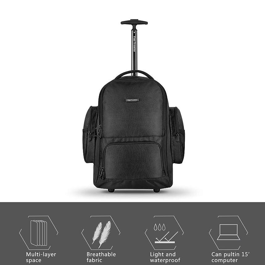 Travel Wheeled Black Backpack, Nylon Rolling Backpack, Carry-on Luggage