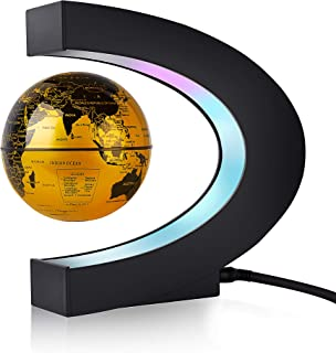WAYRANK Floating Globe Magnetic Levitating World Map for Xmas Gift Home Office Desk Decoration Gold