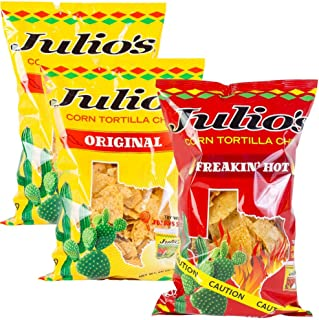 Julio's Corn Tortilla Chips Pick a Pack - Three 9 oz Bags - You Pick Your Flavor Pack - Regular Seaoned and Freakin Hot Chips (2 Regs/1 Hot)