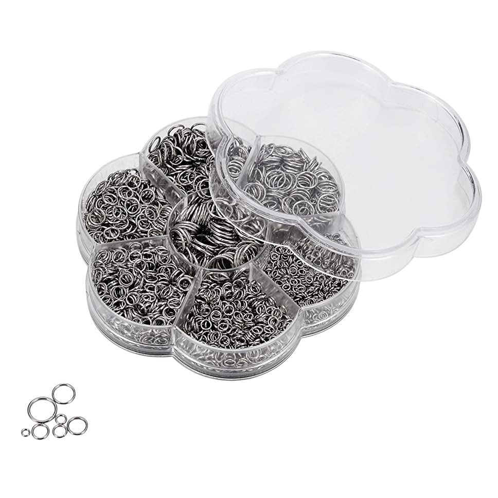 HOUSWEETY 1 Box 2200Pcs Stainless Steel Open Jump Rings Diameter 3mm-10mm with Container