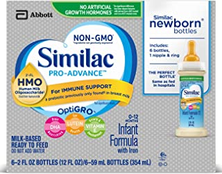Similac Pro-Advance Infant Formula with 2'-FL HMO for Immune Support Ready to Feed Newborn Bottles, 2 fl oz (Pack of 6)