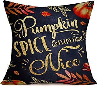 Smilyard Autumn Harvest Pillow Covers Pumpkin Spice & Everything Nice Quote Throw Pillow Case Decorative Home Cotton Linen Fall Maple Leaf with Black Background Pillow Cover 18x18 Inch(Golden Pumpkin)
