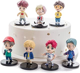 7PCS BTS Mini Idol Doll Deluxe Figure Play Set BTS cake topper fingure Characters set of Action Figure Toys BTS party supp...