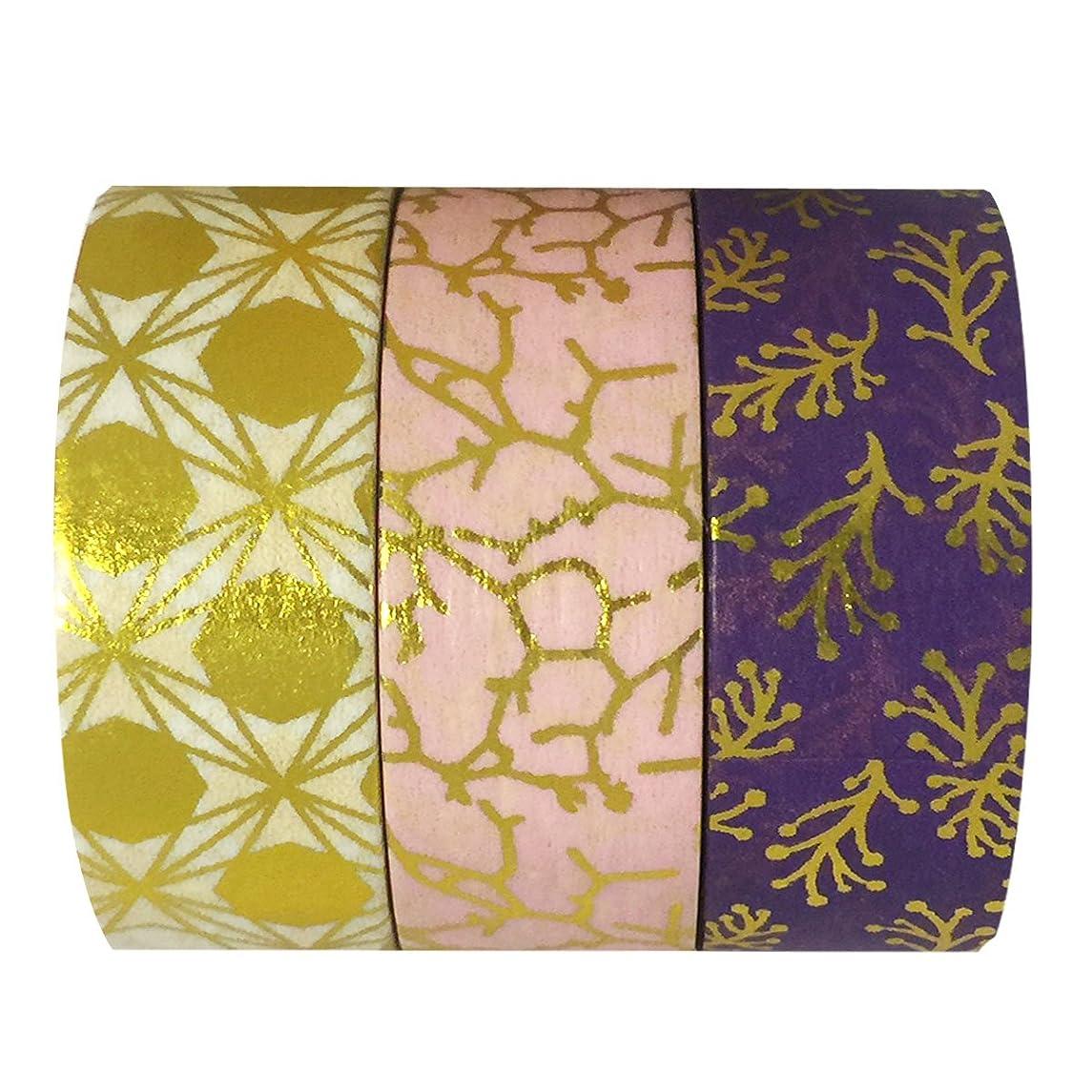 allydrew A70119 10M L x 15mm W Set of 3 Washi Masking Tape, Pink and Purple Metallic