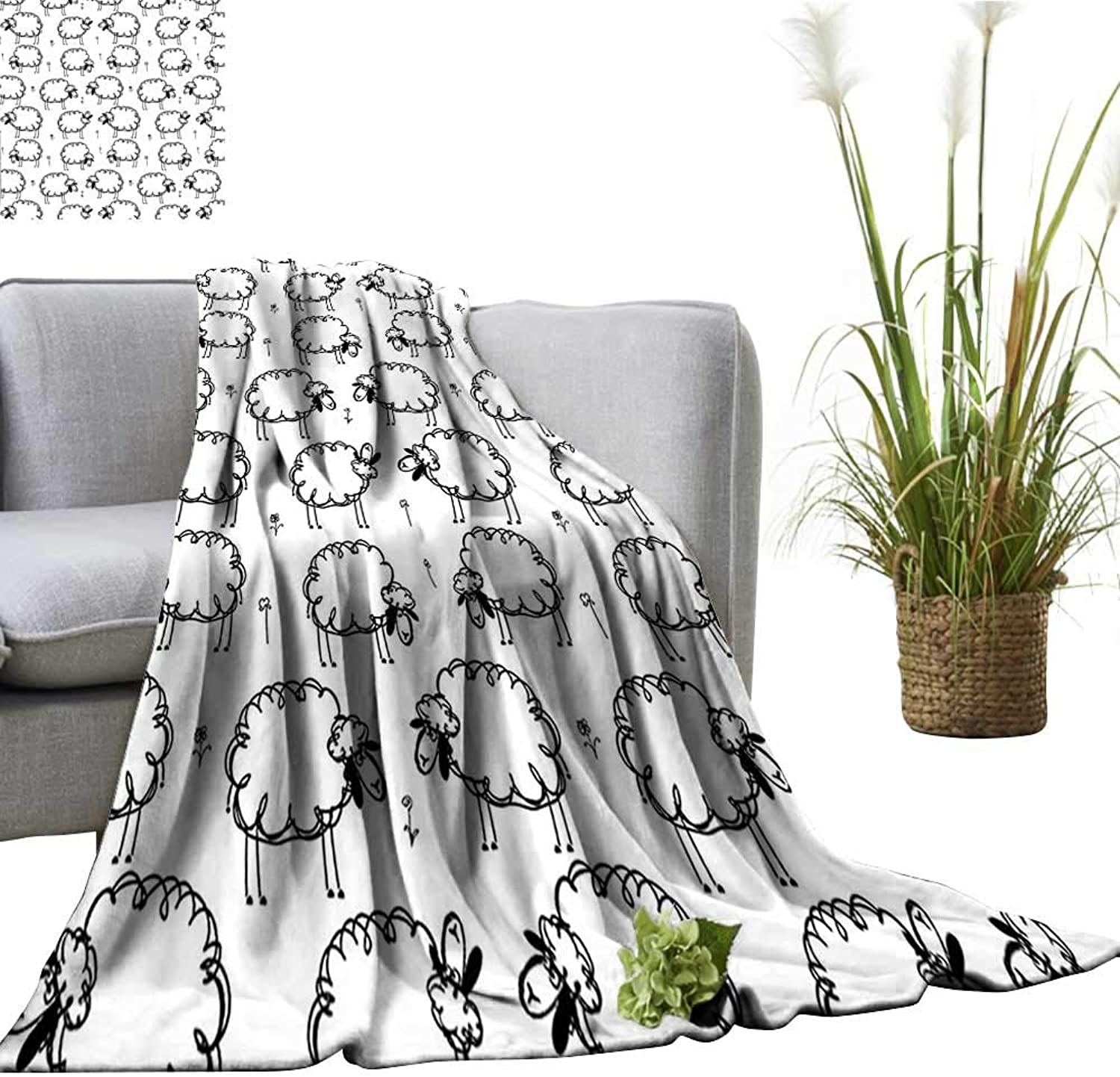 YOYI Single-Sided blanketPatterns On Meadow with Flower Comic Doodle Playroom Kids Art Print Balck for Bed & Couch Sofa Easy Care 60 x63