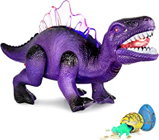 AOKESI LED Walking Dinosaur Toys with Roar Electronic Dino Toy and Lights up Tyrannosaurus Toy Gift for Boys and Girls 3 4 5 6 7 Year Old Batteries Included&2 Extra Dinosaur Eggs