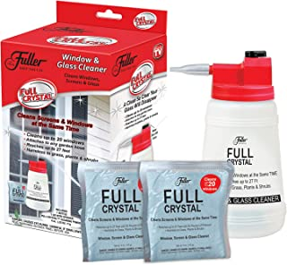Full Crystal TV Kit- Bottle, Lid with Hose Attachment, and Two 4 oz. Crystal Powder- Exterior Window, Glass, and Screen Cleaner – Removes Dust, Dirt, Grime – Reaches up to 27 Feet